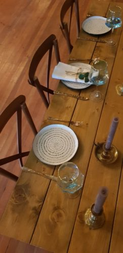 Dinner Set Up- Rustic Wooden Trestle Table