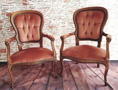 Dusky Pink Velvet Armchairs £45 each