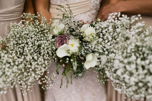 White and blush pink wedding flowers