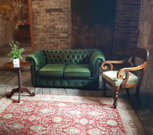 Wedding Hire Scotland Chesterfield Sofa, Antique Chair, Relaxed Seating area