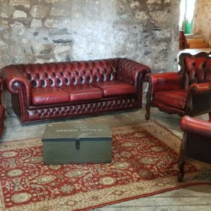 Hire Wedding Props Scotland Oxblood Chesterfield Relaxed Seating Area- seats