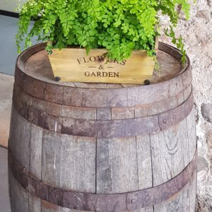 Reclaimed Whisky Barrel and Planter at Kinkell Byre St Andrews Wedding Prop Hire