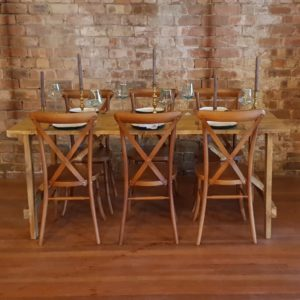 Rustic Wooden Trestle Table and Crossback Chairs