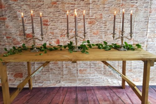Rustic Wooden Trestle Table and Candelabras - POA