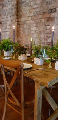 Rustic Wooden Trestle Table and Wooden Crossback Chairs