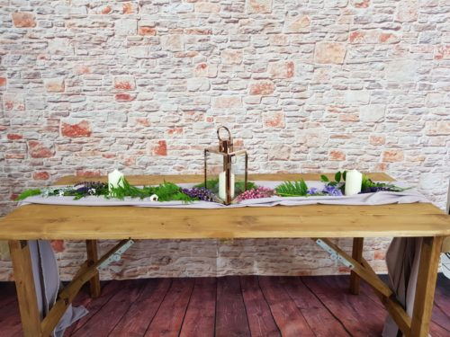 Rustic Wooden Trestle Table- seats 6- £15