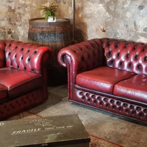 Hire Wedding Vintage Oxblood Chesterfield relaxed seating area