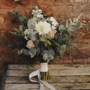 Rustic wild wedding flowers in handtied bouquet