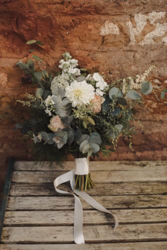 Rustic wild wedding flowers in handtied bouquet