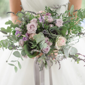 Rustic wild purple wedding flowers