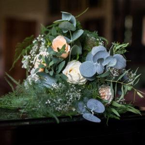 Greenery Eucalyptus and pink flowers wedding bouwuet