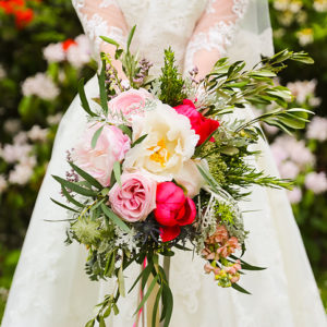 Bright florals vintage wedding bouquet