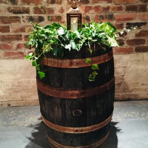 Foliage garland on barrel