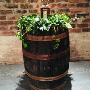 Foliage garland on barrel