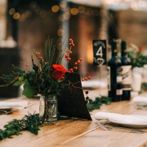 Winter Wedding Centrepiece Jar Flowers