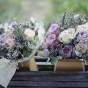 Lavender and Purple rustic wedding flower bouquet