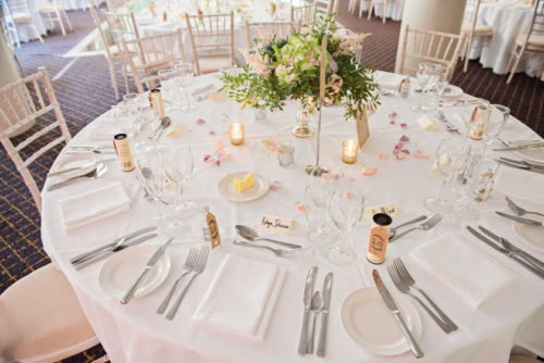Rustic wedding flowers centrepieces Balbirnie House Fife