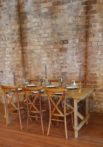 Bare Wood - Rustic Trestle Table and Brass Candlesticks
