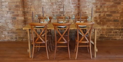 Rustic Wooden Trestle Table Scotland Hire