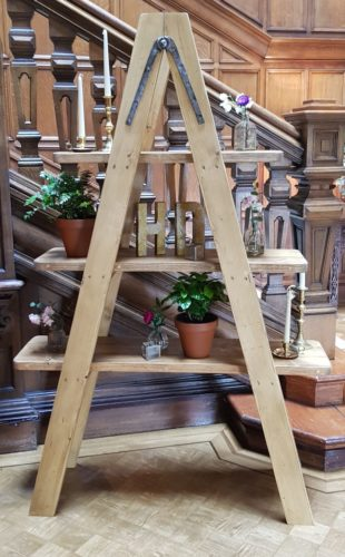 A frame wooden ladder shelf display unit hire weddings and events
