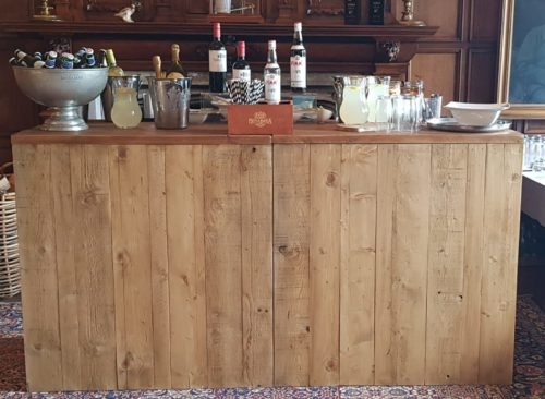 Rustic Wooden Drinks Bar to hire weddings and events