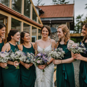 Bridal party with wedding flowers bouquets flowers Fife Scotland