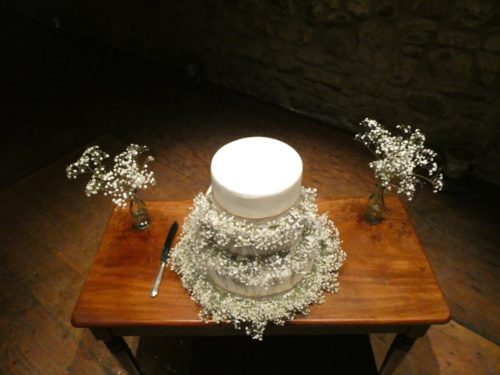 Cake Table Gypsophila garland wedding flowers