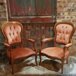 Dusky Pink Antique Armchairs to hire Scotland