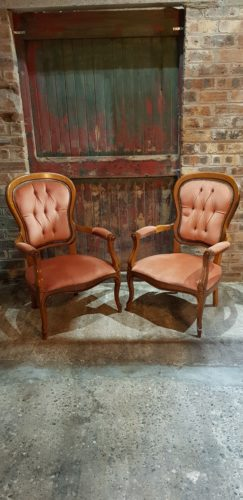 Dusky Pink Antique Armchairs