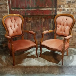 Dusky Pink Antique Armchairs