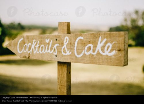 Cocktails and Cake Wedding Sign