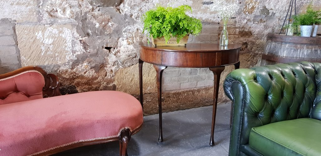 Demi Lune Side Table with plant