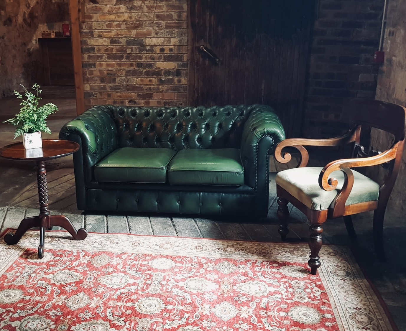 Green Chesterfield and Armchair Relaxed Seating Area - seats 3