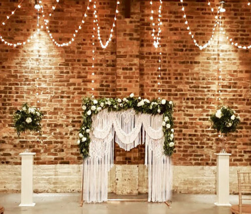 Hanging Macrame and Copper Arch