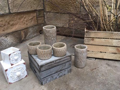 Prop hire Scotland Variety of pots, crates, boxes and rustic vases