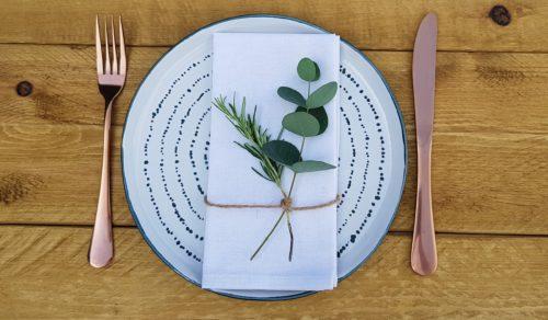 Herb place setting napkin decor