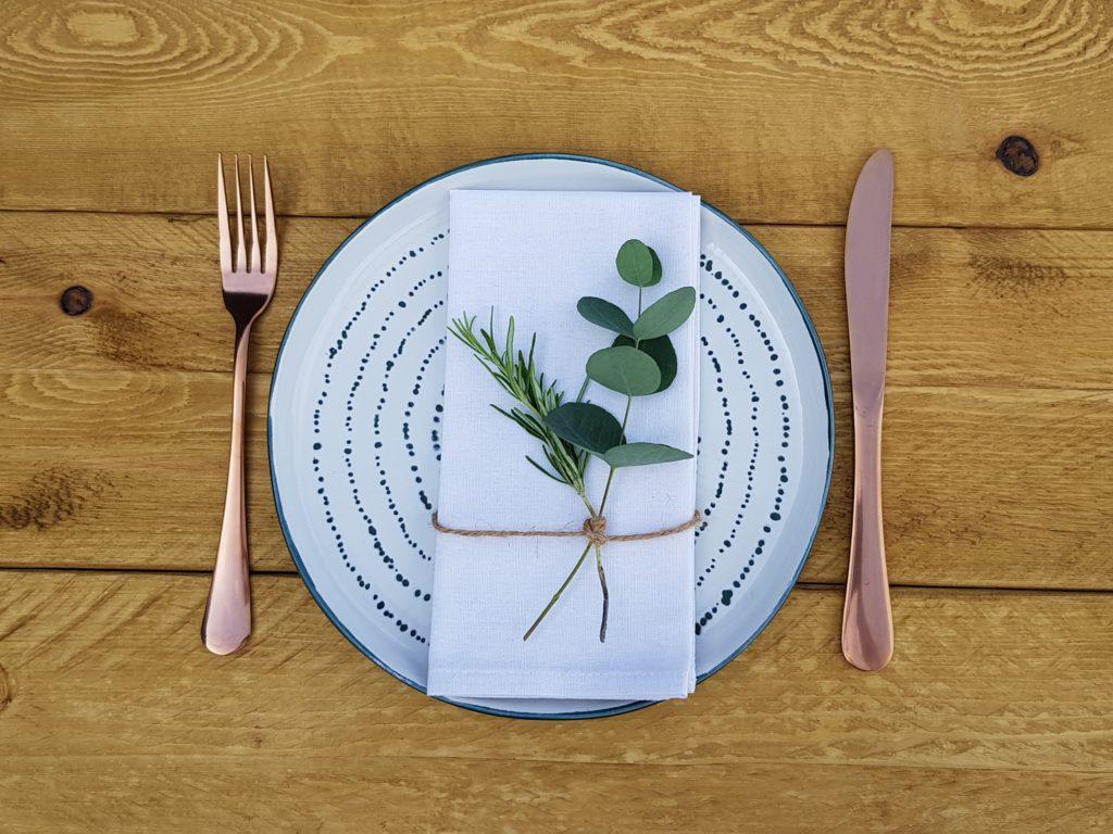 Napkin herb decoration