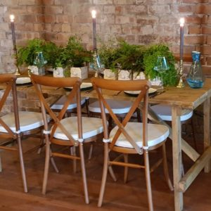 Hire Rustic Wooden Trestle Tables and Crossback Chairs Fife, Scotland