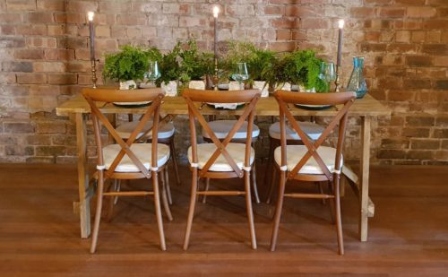Rustic Wooden Trestle Table and Oak Crossback Chairs Wedding Reception