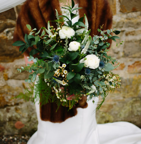 Winter Wedding Bouquet greenery and white flowers The Cow Shed Crail