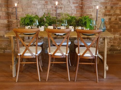 Rustic Trestle Table and Oak Wooden Crossback Chairs