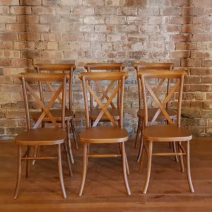 Wooden Crossback Chairs for dining or ceremony hire