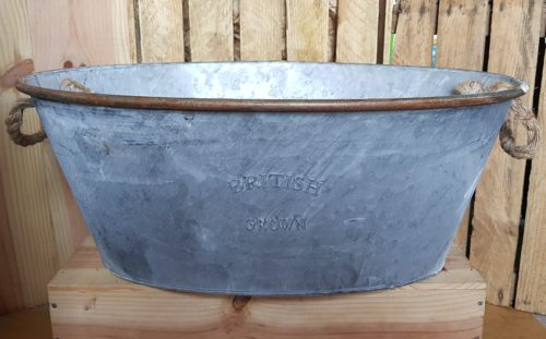 Vintage Style Zinc Oval Bucket
