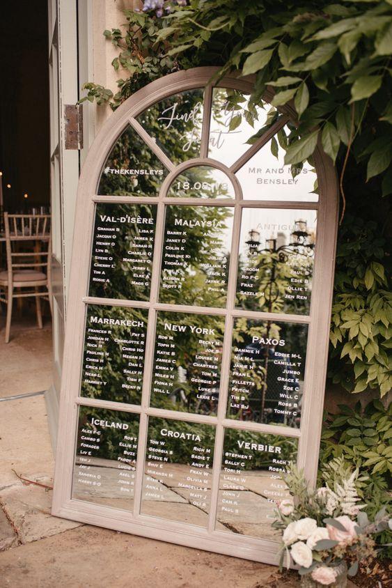 Arch Mirror Table Plan Wedding Hire