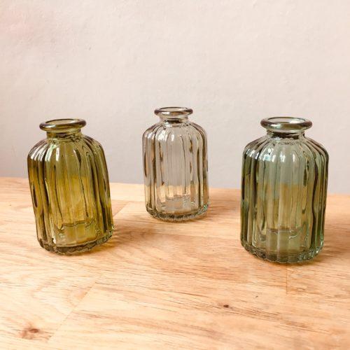 Green tones vases hire Wedding scotland
