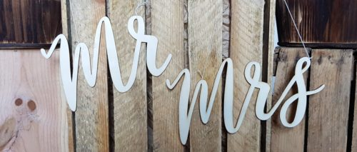 Mr and Mrs Hanging Wooden Wedding Sign Hire Scotland