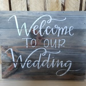 Wooden Welcome to our wedding sign hire Scotland