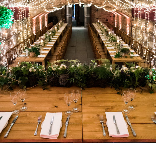 Wooden Trestle Tables in The Caves Edinburgh Hire Wedding Table Hire